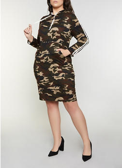 Plus Size Camo Hooded Dress - 1390073373006