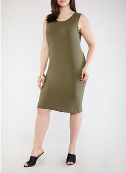 Plus Size Soft Knit Tank Dress - 1390073374610