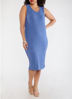 Plus Size Soft Knit Tank Dress - 1390073374610