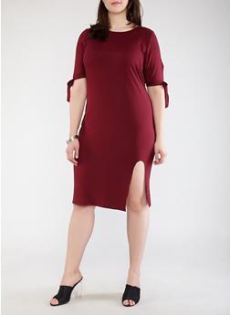 Plus Size Soft Knit Tie Sleeve Dress - 1390073374611