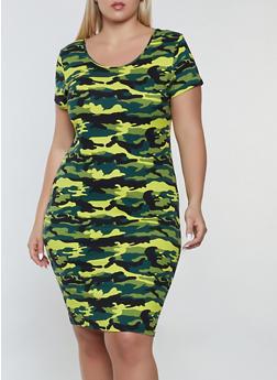 Plus Size Camo T Shirt Dress - 1390073374713