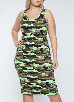 Plus Size Camo Soft Knit Tank Dress - 1390073375106