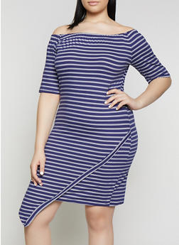 Plus Size Striped Off the Shoulder Asymmetric Hem Dress - 1390073375200