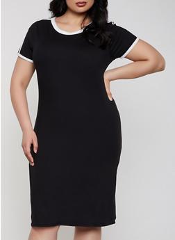 Plus Size Soft Knit T Shirt Dress - 1390073375203