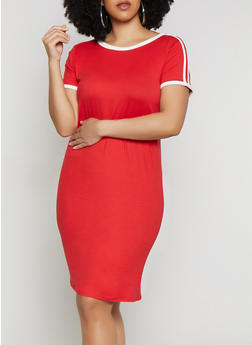 Plus Size Soft Knit T Shirt Dress - 1390073375203