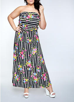 Plus Size Striped Floral Maxi Dress - 1390073375204