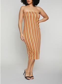 Plus Size Multi Striped Tube Dress - 1390073375208