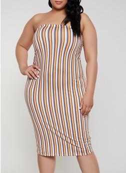Plus Size Striped Bodycon Tube Dress - 1390073375210