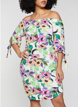 Plus Size Floral Soft Knit Off the Shoulder Dress - 1390073375662