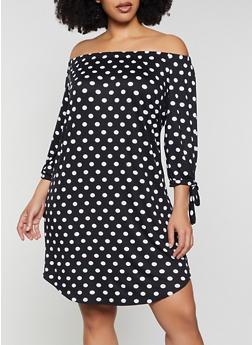 Plus Size Polka Dot Off the Shoulder Dress - 1390073375666