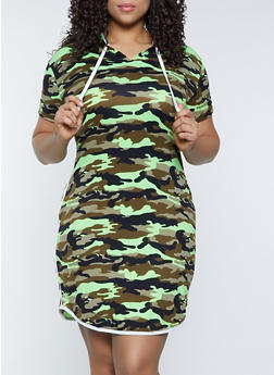 Plus Size Hooded Camo Dress - 1390073375906