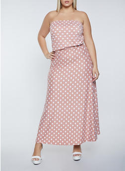 Plus Size Polka Dot Maxi Dress - 1390073376200
