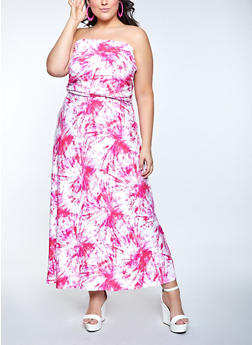 Plus Size Tie Dye Strapless Maxi Dress - 1390073376202