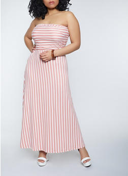 Plus Size Striped Strapless Maxi Dress - 1390073377200