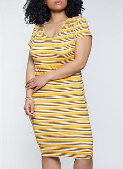 Plus Size Striped Midi T Shirt Dress - 1390073377713