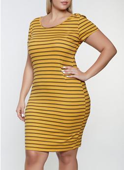 Plus Size Striped T Shirt Dress - 1390073378713