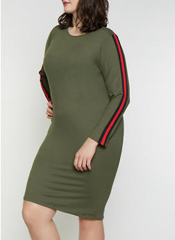 Plus Size Side Stripe T Shirt Dress - 1390073378788