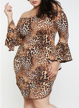 Plus Size Leopard Off the Shoulder Dress - 1390074011015