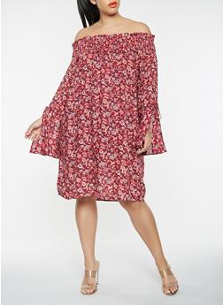 Plus Size Floral Off the Shoulder Bell Sleeve Dress - 1390074011032