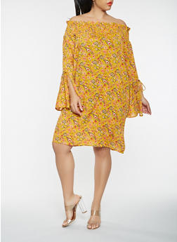 Plus Size Floral Off the Shoulder Bell Sleeve Dress - 1390074011032