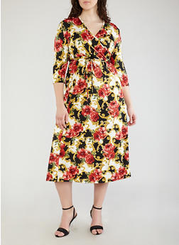 Plus Size Floral Print Faux Wrap Dress - 1390074012013