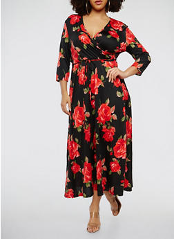 Plus Size Printed Faux Wrap Maxi Dress - 1390074012014