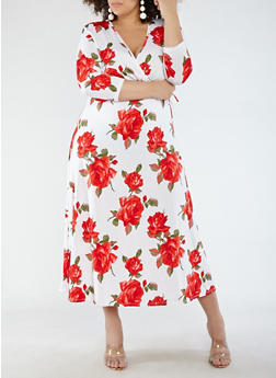 Plus Size Floral Faux Wrap Maxi Dress with Sleeves - 1390074012014