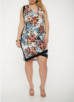 Plus Size Floral Faux Wrap Bodycon Dress - 1390074012026