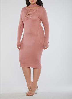 Plus Size Rib Knit Lace Up Sweater Dress - 1390074013977