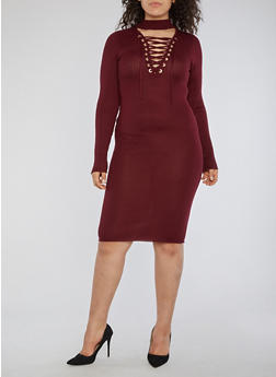 Plus Size Rib Knit Lace Up Sweater Dress - 1390074013977