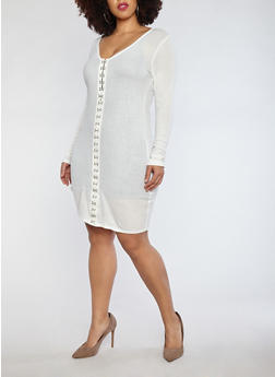 Plus Size Rib Knit Hook Front Dress - 1390074280017