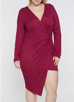 Plus Size Asymmetrical Faux Wrap Dress - 1390074280528