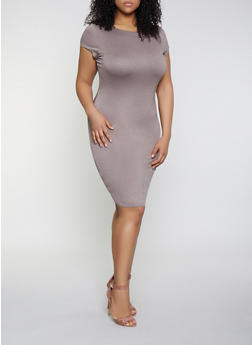 Plus Size Bodycon T Shirt Dress - 1390074281176