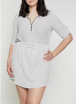 Plus Size Half Zip Polka Dot Dress - 1390074281190