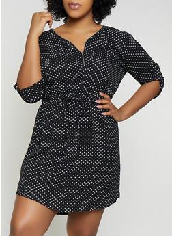 Plus Size Half Zip Polka Dot Dress - 1390074281190