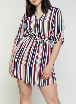 Plus Size Half Zip Striped Dress - 1390074281191