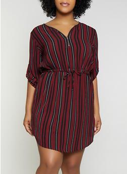 Plus Size Striped Half Zip Dress - 1390074281192
