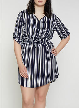 Plus Size Striped Half Zip Dress - 1390074281192