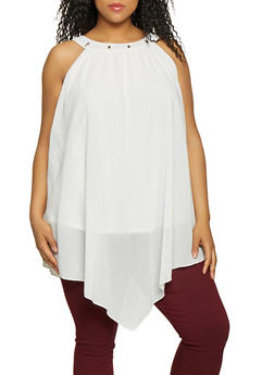 Plus Size Crepe Knit Asymmetrical Top - 1390074281194