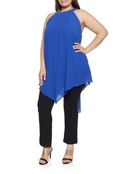 Plus Size Crepe Knit Asymmetrical Top - 1390074281194