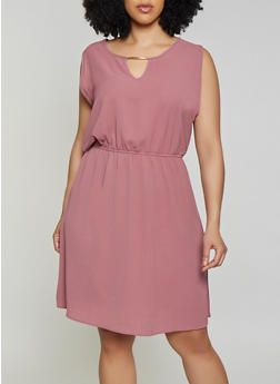 Plus Size Crepe Knit Keyhole Dress - 1390074281195