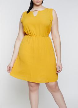 Plus Size Crepe Knit Keyhole Dress - 1390074281195