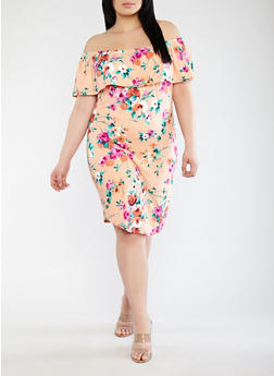 Plus Size Floral Off the Shoulder Dress - 1390074281508