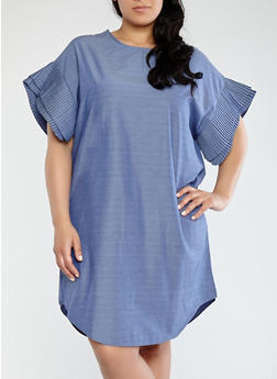 Plus Size Tiered Sleeve Chambray Dress - 1390074281513