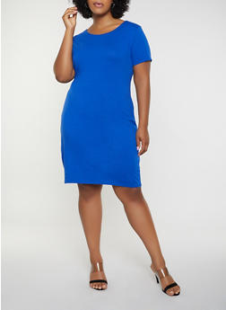 Plus Size Solid T Shirt Dress - 1390074282510