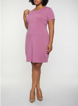 Plus Size Solid T Shirt Dress - 1390074282510