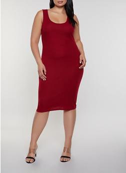 Plus Size Rib Knit Scoop Neck Tank Dress - 1390074282514