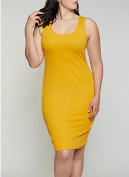 Plus Size Rib Knit Scoop Neck Tank Dress - 1390074282514