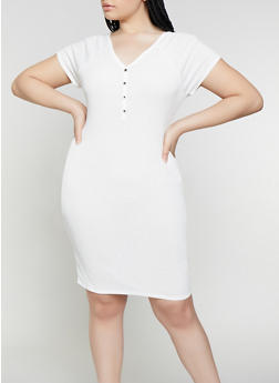 Plus Size Rib Knit Henley Dress - 1390074282515