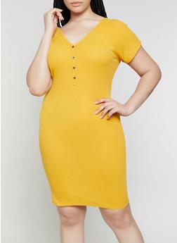 Plus Size Rib Knit Henley Dress - 1390074282515